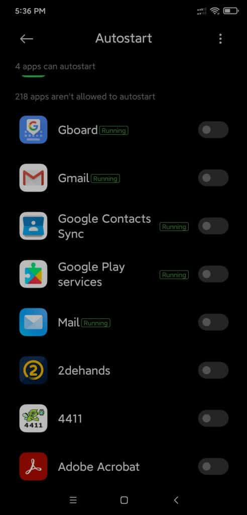 Autostart permissions in Android